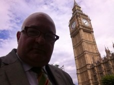 In the forecourt of the Houses of Parliament.