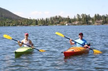 Kurt and Jordan in full kayak pose.