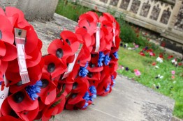 Poppies at the WWI memorial in the church yard. These memorials commemorate the Battle of the Somme.