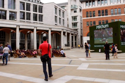 We stumbled onto the end of the Wimbledon match on the big screen, near St. Paul's.