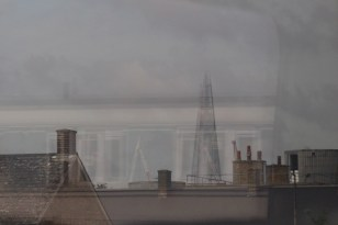 The Shard, through the train window.