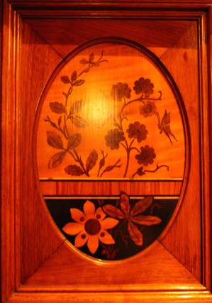 Inlaid wood.