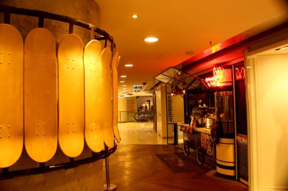Skateboards as wall decoration in a shopping mall.