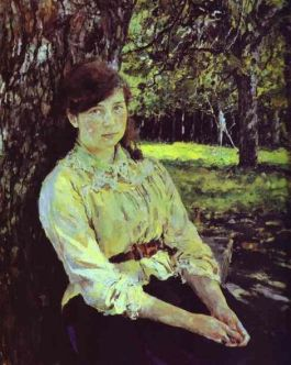 Girl in Sunlight Portrait Maria_Simonovich 1888 _Oil_on_canvas__The_Tretyakov_Gallery Moscow