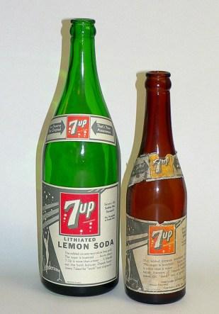 7-Up Bottles Lithium Lithiated Soda
