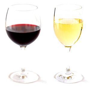 red and white wine in glass