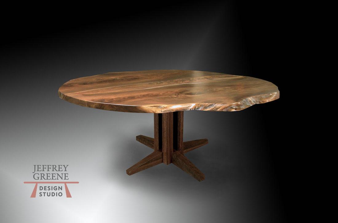 criss cross wood slab dining table