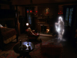 Data as Ebenezer Scrooge, confronted by the ghost of Marley