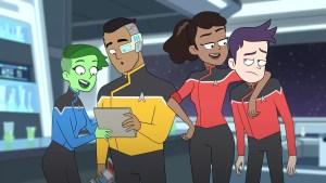 Ensigns D'Vana Tendi, Sam Rutherford, Beckett Mariner, and Brad Boimler from Star Trek: Lower Decks