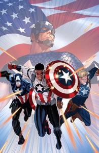 Three Captains America: Bucky Barnes, Sam Wilson, and Steve Rogers