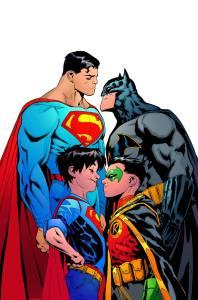 Superman, Batman, Robin, and Superboy