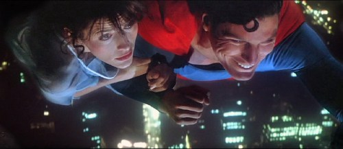 Superman the movie 1978 Margot Kidder as Lois Lane and Christopher Reeve as Superman