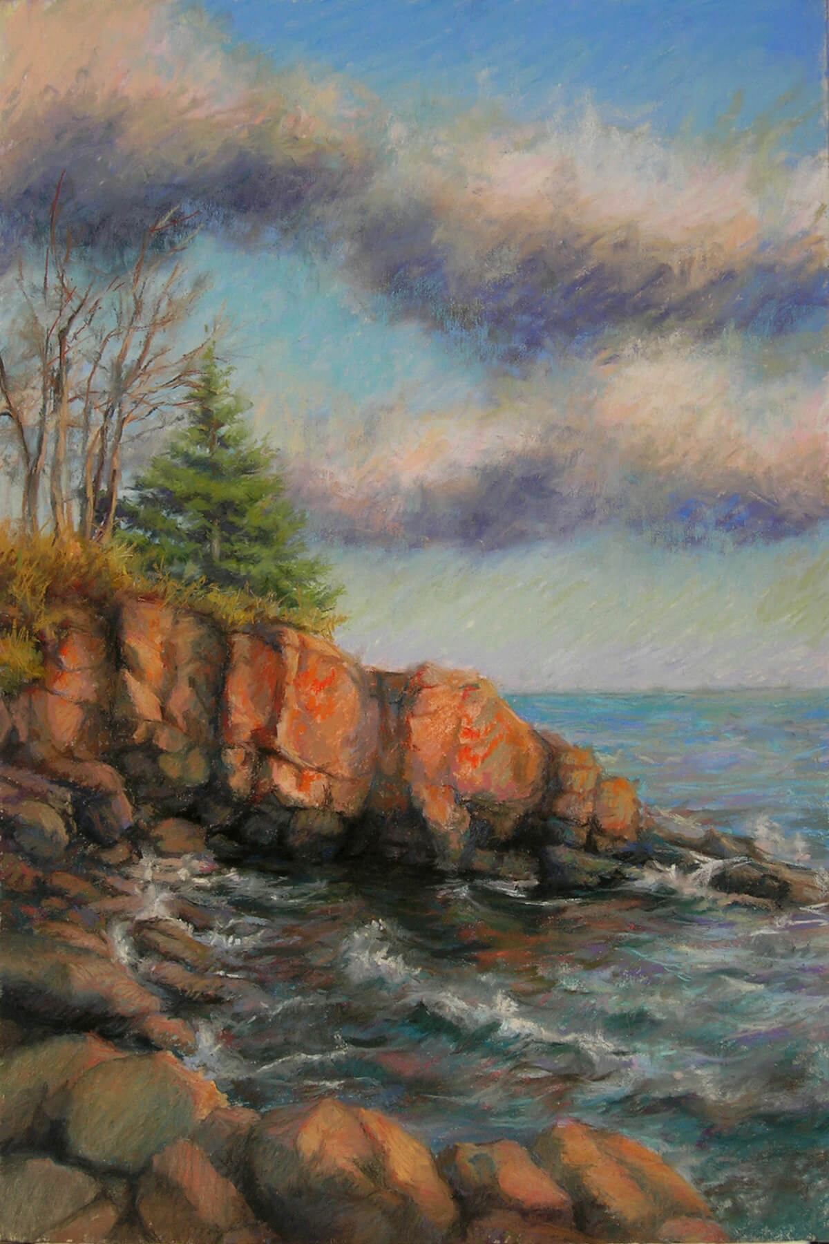 Image of a pastel painting of the rocky shore line of Lake Superior
