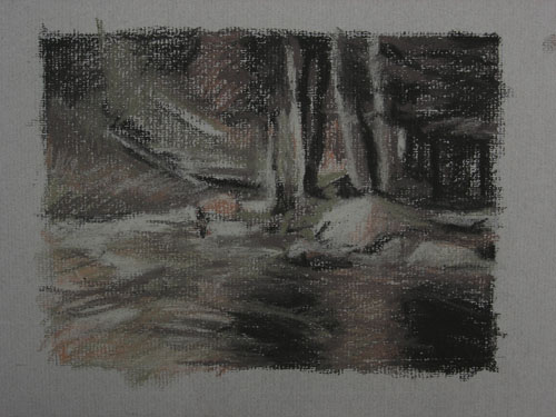 Riverside, Charcoal Sketch