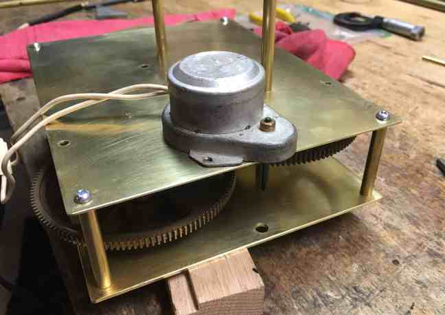 Orrery Clock motor hole drilled