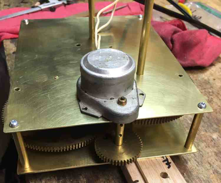 Orrery clock motor mounted