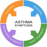 Asthma Symptoms Word Circle Concept with great terms such as coughing wheezing and more.
