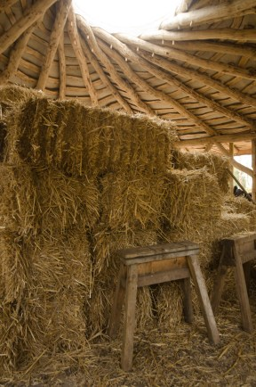 straw bale round wood round house