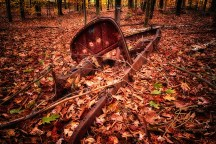 The rusted remains of an antique vehicle found in the woods. Laying half covered with brown fallen leaves, all that remains is the frame, firewall, and the engine block. The steering shaft still sticks up through what used to be the floor, the steering wheel spokes and rim are long gone.