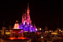 Cinderella's Castle at night in Disney's Magic Kingdom.
