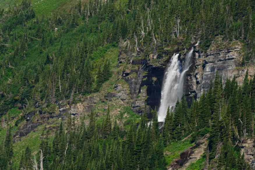 Waterfall along Going to the Sun Road, Glacier Park photographed by Jeff Wendorff