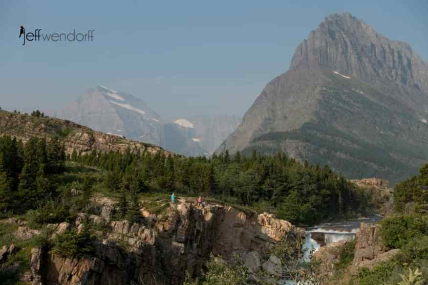 Photographers above Swiftcurrent Falls and Mt. Grinnel photographed by Jeff Wendorff