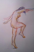 Out of my head 1: just an imagined pose in soluble and oil pastel