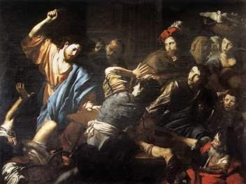 Schilderij van Carravagio van Christus die de geldwisselaars uit de Tempel verdrijft