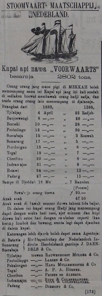 Iklan pelayaran naik Haji ke Mekkah di Slompret Melayoe, 29 Maart 1888