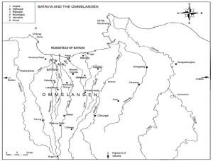 Peta Batavia dan Ommenlanden: Sumber foto: Kanumoyoso, Bondan. 2011. Beyond the City Wall: Society and Economic Development in Ommenlanden of Batavia 1684-1740