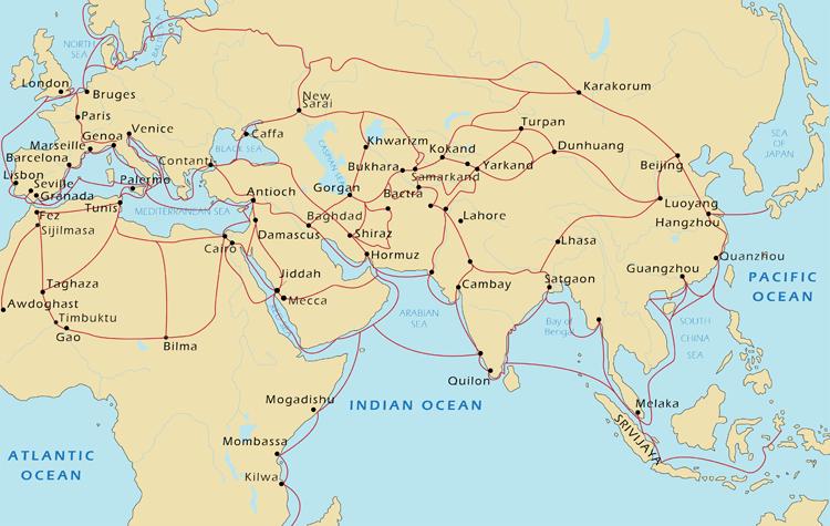 Peta Rute Perdagangan Arab di Abad pertengahan. Sumber foto: California History-Social Science Project (http://chssp.ucdavis.edu/programs/historyblueprint/maps/medieval-map)