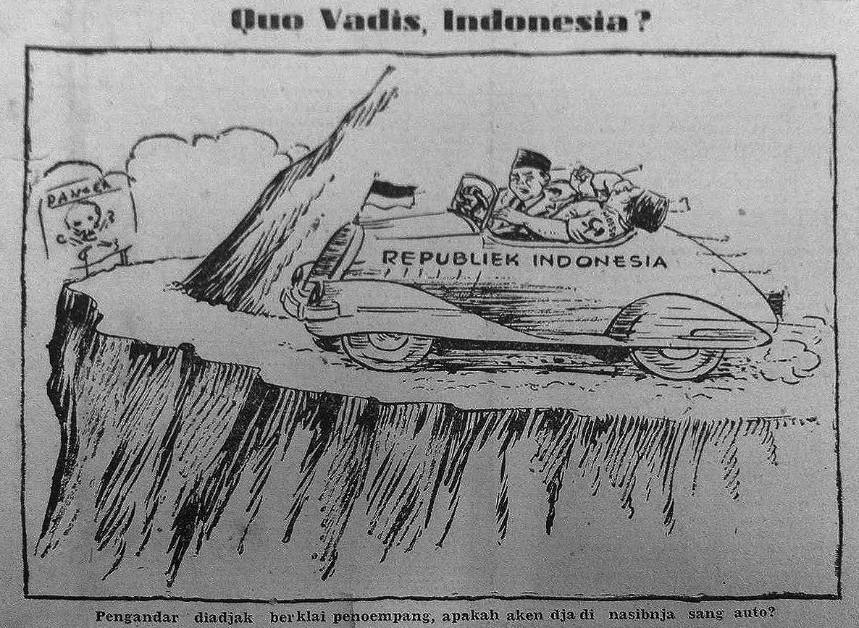 Kartun yang menyindir sikap PKI yang membawa Indonesia ke jurang. Harian Sin Po 25 September 1948