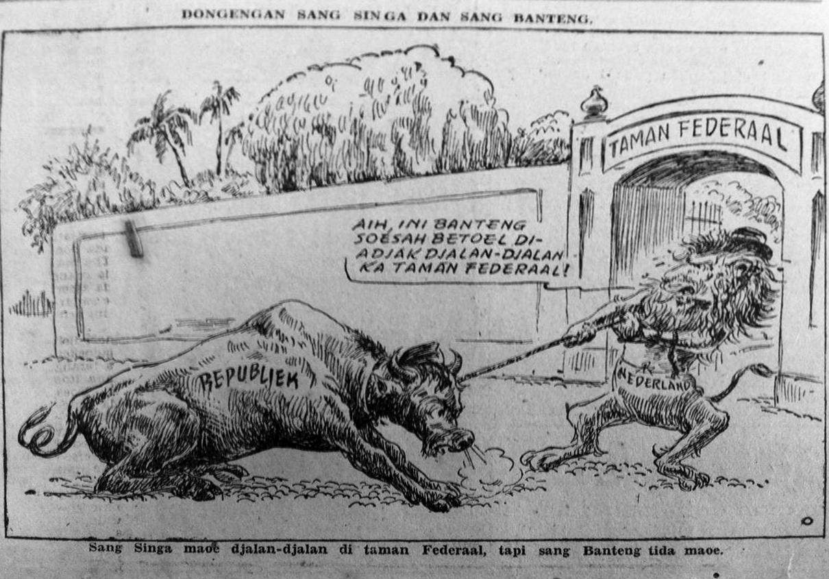 Gambar 8. Kartun mengenai Indonesia, Belanda dan negara federal. Sumber foto: Sin Po 31 Juli 1948