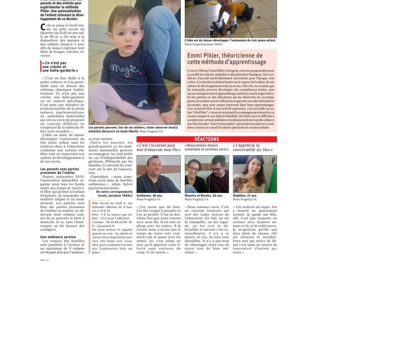 Nouvel article sur JJM dans Le Progrès !