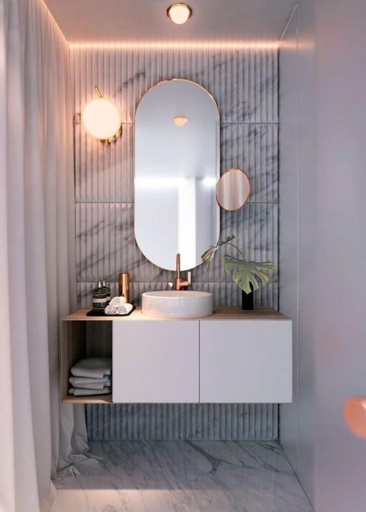 Chic Small Bathroom Ideas - Mirror As the Focal Point