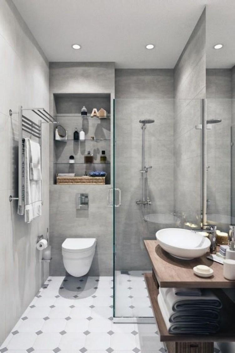 Chic Small Bathroom Ideas - Narrow Concrete Bathroom