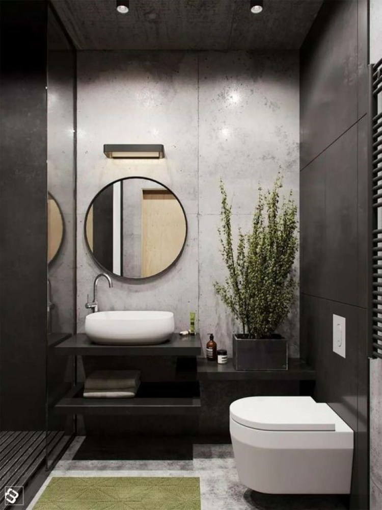 Basement Bathroom Ideas - Neat Concrete Exposed