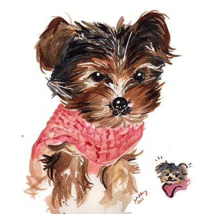 "Ink, 9x12"" Puppy Portrait Commission"