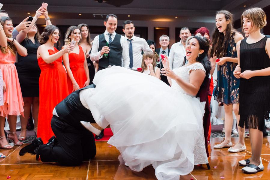A fun photo of a bride at her Coquitlam wedding