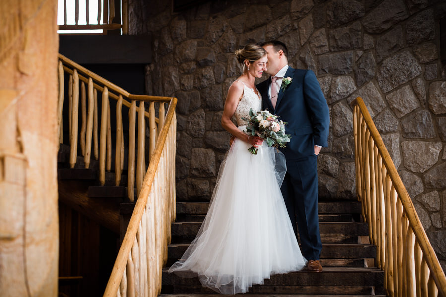 bridal couple in Grouse Mountain Peak chalet in North Vancouver