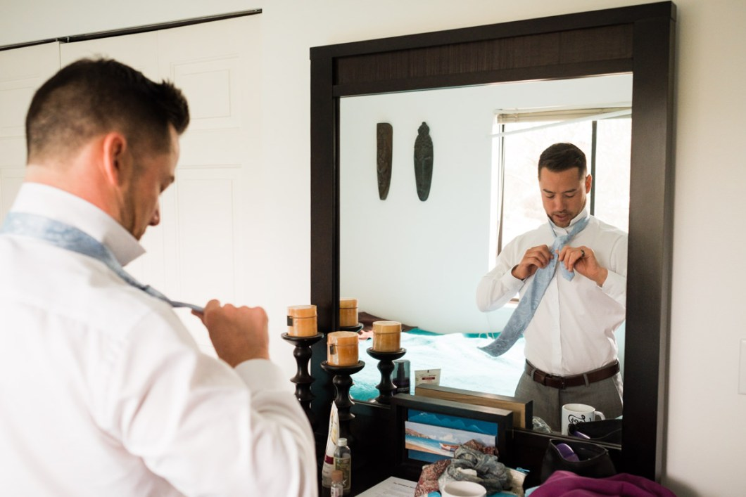 Groom getting ready in North Vancouver