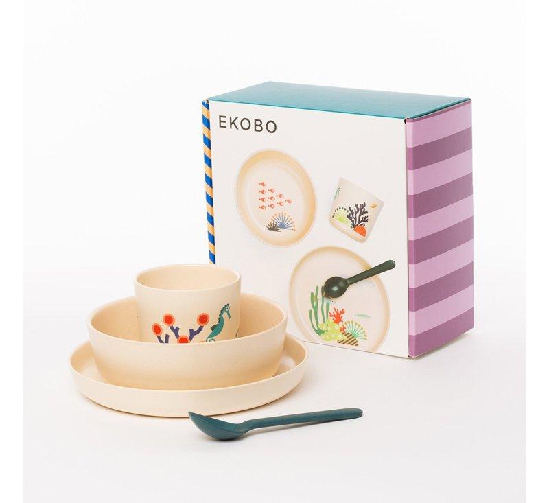 Bambino Kids Dining Set   SEA-Bamboo Tableware-Ekobo-jellyfishkids.com.cy