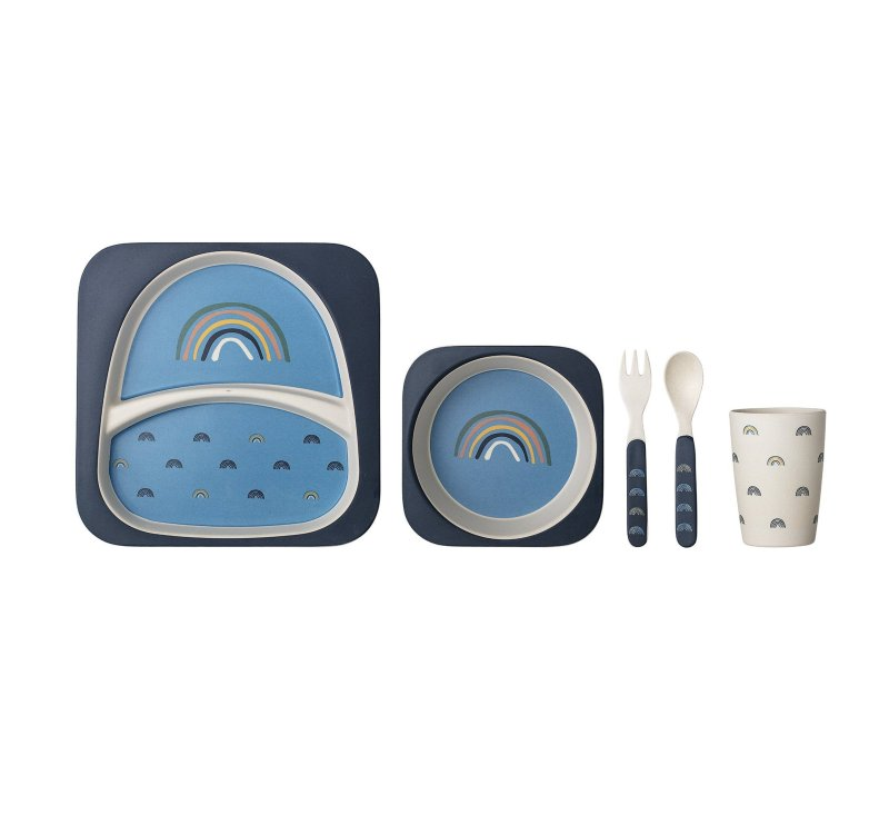 Henry Serving Set, Blue, Bamboo-Bamboo Tableware-Bloomingville-jellyfishkids.com.cy