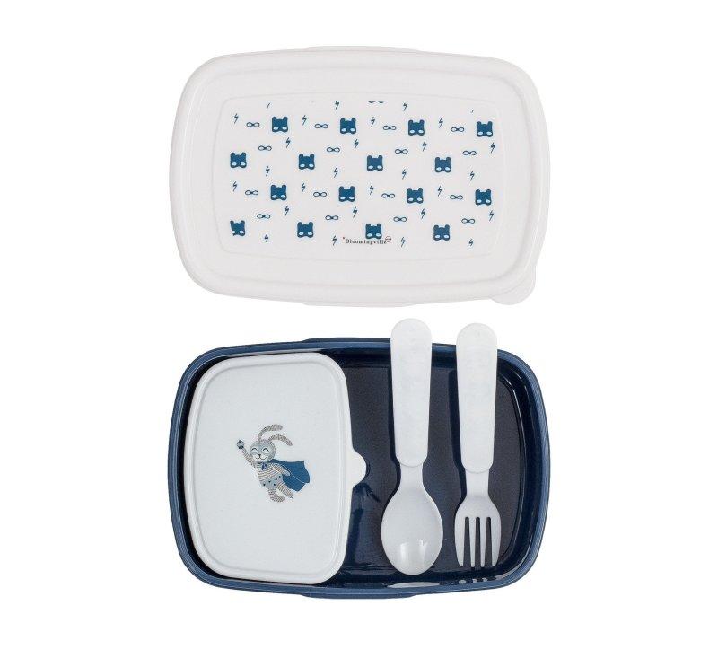 Superhero Lunch Box w/Cutlery, Blue-Lunchbox-Bloomingville-jellyfishkids.com.cy