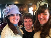 Close-up of me, our mom, and Jennifer at the Downton Abbey Tea Event last month