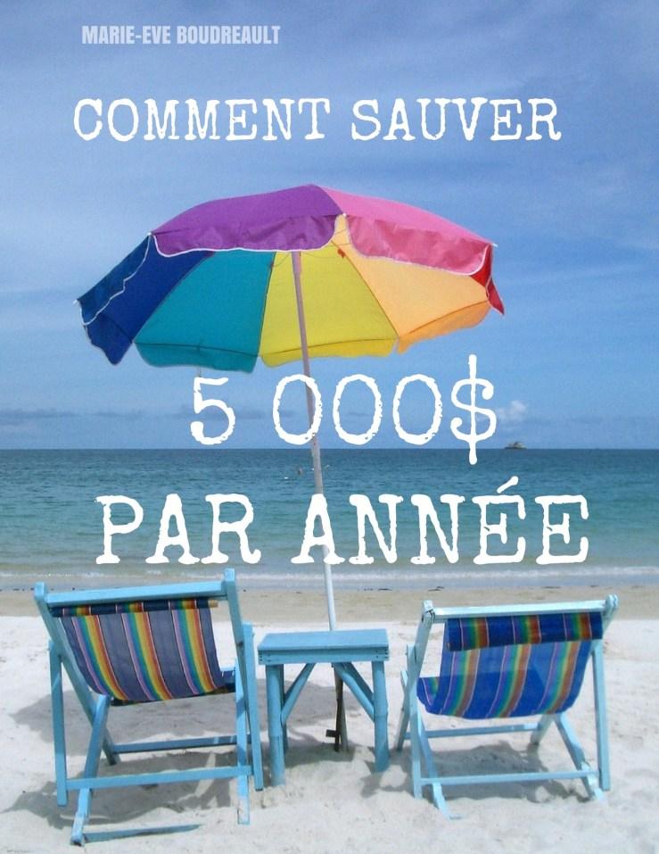 image guide gratuit livre ebook coment sauver 5000 $ par année 5 000, auteure marie-eve boudreault, blogueuse professionnelle du québec