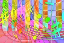 Notes de musique et chant coloré