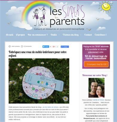 la roue de météo intérieure pour enfants de je me libère du stress sur le blog les Supers Parents