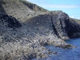 Curved basalt columns