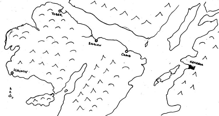 sketch map of Mull with Ulva lower left